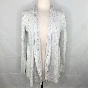 Loft Gray Speckled Hooded Open Front Cardigan